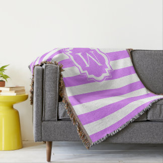 CHIC THROW_MODERN LILAC/WHITE STRIPES THROW BLANKET