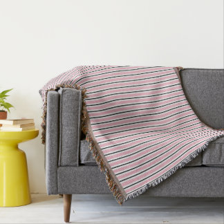 CHIC THROW_PINK/BLACK/WHITE STRIPES THROW BLANKET