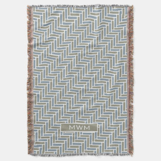CHIC THROW_TAUPE/BLUE CHEVRON TILES THROW BLANKET