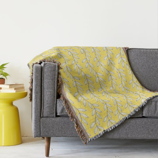 CHIC THROW_YELLOW/WHITE FLORAL VINES THROW BLANKET