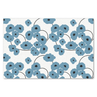 CHIC TISSUE PAPER_MOD BLUE & BLACK POPPIES TISSUE PAPER