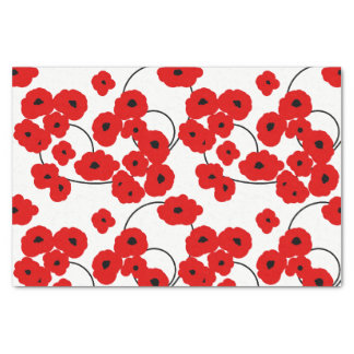 CHIC TISSUE PAPER_MOD RED & BLACK POPPIES TISSUE PAPER