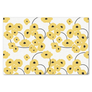 CHIC TISSUE PAPER_MOD YELLOW & BLACK POPPIES TISSUE PAPER