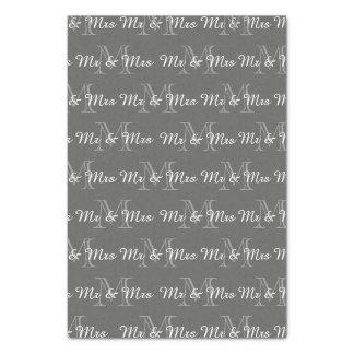 "CHIC TISSUE PAPER_""Mr & Mrs"" TEXT OVER MONOGRAM Tissue Paper"