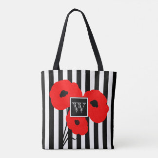 CHIC TOTE/BAG_MOD RED POPPIES ON STRIPES TOTE BAG