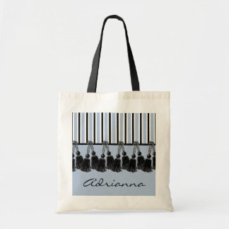 CHIC TOTE_BLACK TASSELS/SERENITY STRIPES TOTE BAG