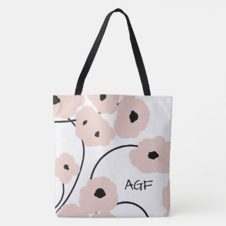 CHIC TOTE_MOD PALE PINK & BLACK POPPIES TOTE BAG