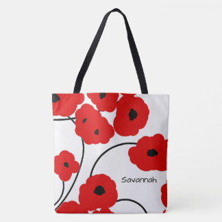CHIC TOTE_MOD RED & BLACK POPPIES TOTE BAG