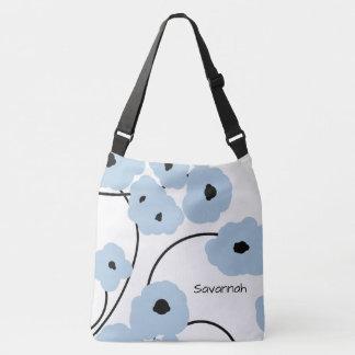 CHIC TOTE_MOD SOFT BLUE & BLACK POPPIES CROSSBODY BAG