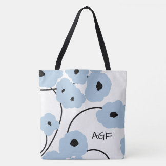 CHIC TOTE_MOD SOFT BLUE & BLACK POPPIES TOTE BAG