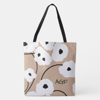 CHIC TOTE_MOD WHITE & BLACK POPPIES TOTE BAG