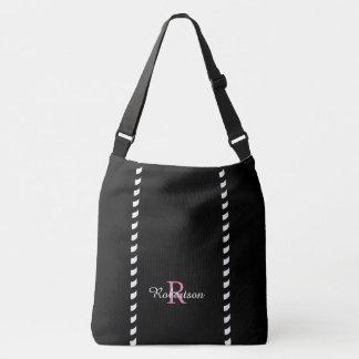 CHIC TOTE_MODERN BLACK & WHITE STRIPES CROSSBODY BAG