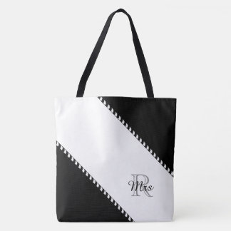 "CHIC TOTE_MODERN ""Mrs""BLACK & WHITE STRIPES Tote Bag"