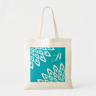 CHIC TOTE_MODERN WHITE FLORAL ON TURQUOISE