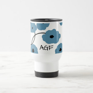 CHIC TRAVEL  MUG_MOD BLUE AND BLACK  POPPIES TRAVEL MUG