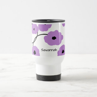 CHIC TRAVEL  MUG_MOD LAVENDER AND BLACK  POPPIES TRAVEL MUG