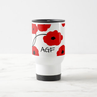 CHIC TRAVEL  MUG_MOD RED AND BLACK  POPPIES TRAVEL MUG