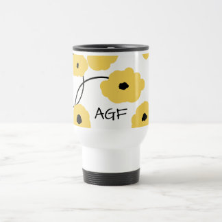 CHIC TRAVEL  MUG_MOD YELLOW AND BLACK  POPPIES TRAVEL MUG