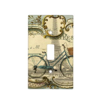 chic traveller vintage bicycles paris eiffel tower light switch cover
