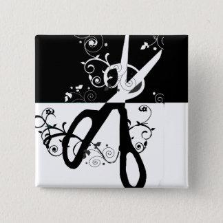 Chic Trendy  Black White Scissors Fashion 2 Inch Square Button