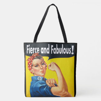Chic trendy Fierce and Fabulous Rosie the Riveter Tote Bag