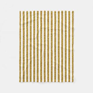 Chic Trendy Gold White Stripes Glitter Photo Print Fleece Blanket