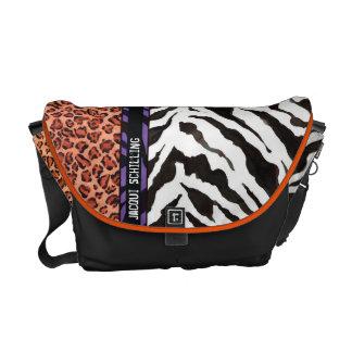 Chic Trendy Orange Black Leopard Zebra Pattern Messenger Bags