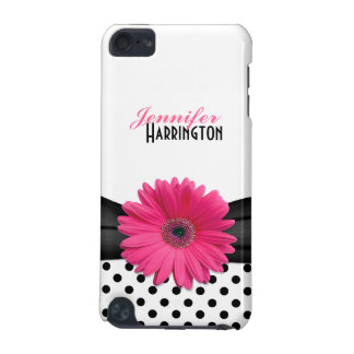 Chic Trendy Pink Gerbera Daisy Polka Dot iPod Touch 5G Cover