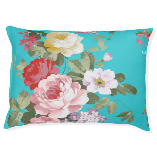 Chic trendy pink red floral vintage roses pattern pet bed