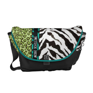 Chic Trendy Teal Aqua  Black Leopard Zebra Pattern Messenger Bag