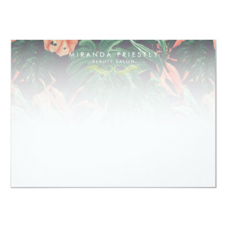 Chic Tropical Flower Makeup Beauty Salon Notecard