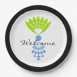 """CHIC TROPICAL """"WELCOME"""" MOD BLUE ISLAND PINEAPPLE PAPER PLATE"""