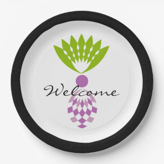 """CHIC TROPICAL """"WELCOME"""" MOD PURPLE PINEAPPLE 9 INCH PAPER PLATE"""