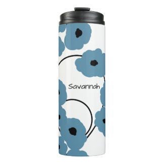 CHIC TUMBLER_MOD BLUE & BLACK POPPIES THERMAL TUMBLER