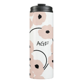 CHIC TUMBLER_MOD PALE PINK & BLACK POPPIES THERMAL TUMBLER