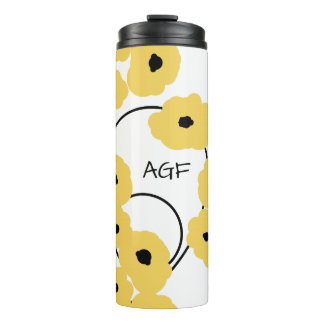 CHIC TUMBLER_MOD YELLOW & BLACK POPPIES THERMAL TUMBLER