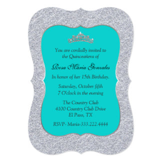 Chic Turquoise and Silver Quinceañera Invitation
