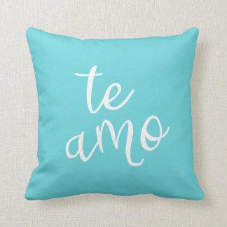 Chic Turquoise and White Spanish I Love You Te Amo Throw Pillow
