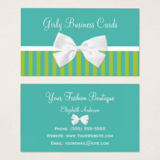 Chic Turquoise Lime Stripes White Bow Boutique Business Card