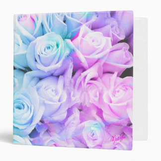"""Chic Turquoise Pink Rose Ombre Floral 1.5"""" Binder"""