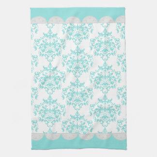 Chic Turquoise & White Damask Towel