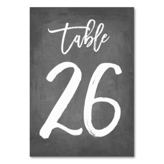 Chic Typography Chalkboard Table Number | Table 26