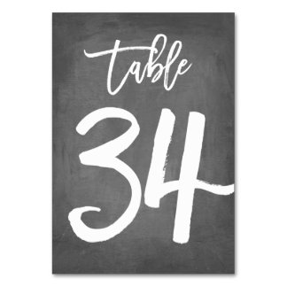 Chic Typography Chalkboard Table Number   Table 34