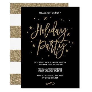 Chic Typography Faux Gold Glitter Holiday Party Card