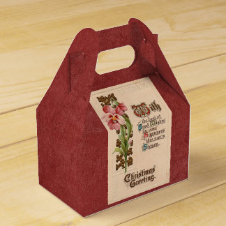 Chic Vintage Christmas Greeting On Antique Red Favor Box