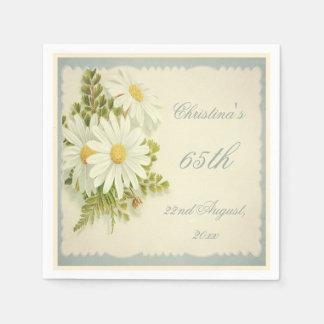 Chic Vintage Daisies 65th Birthday Serviettes Paper Napkins
