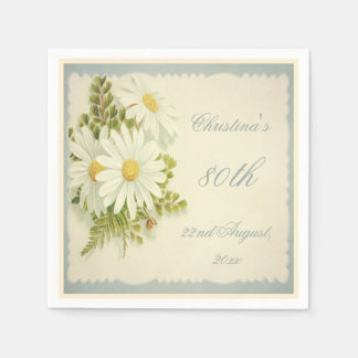 Chic Vintage Daisies 80th Birthday Serviettes Disposable Napkins