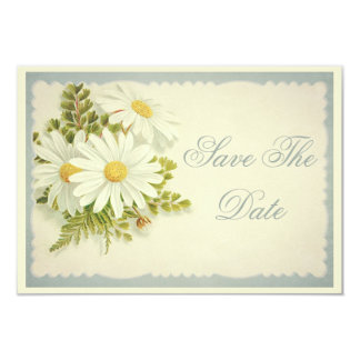 """Chic Vintage Daisies Save The Date 65th 3.5"""" X 5"""" Invitation Card"""