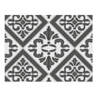 Chic Vintage design in pretty charcoal pattern Postcard