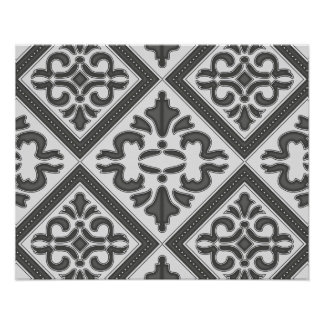 Chic Vintage design in pretty charcoal pattern Print